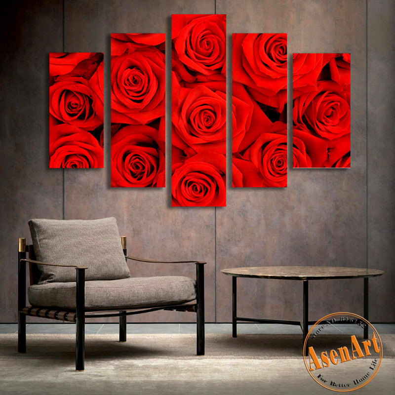 5 Panel Wall Art Romantic Red Rose Picture For Wall Decor Canvas Prints Wall  Paintings For
