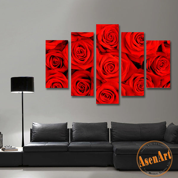 5 Panel Wall Art Romantic Red Rose Picture for Wall Decor Canvas Prints Wall Paintings for Bedroom Modern Home Decor No Frame