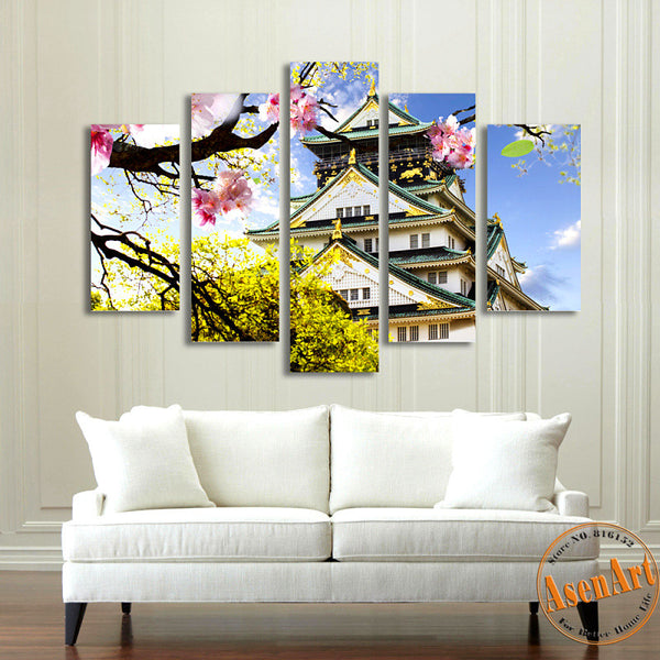 5 Piece Wall Art Osaka Japan Ancient Building Landscape Painting Canvas Prints Artwork Picture for Living Room Unframed