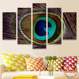 5 Panel Canvas Art Peacock Painting Beautiful Feather Picture Canvas Prints Wall Pictures for Living Room Home Decor No Frame
