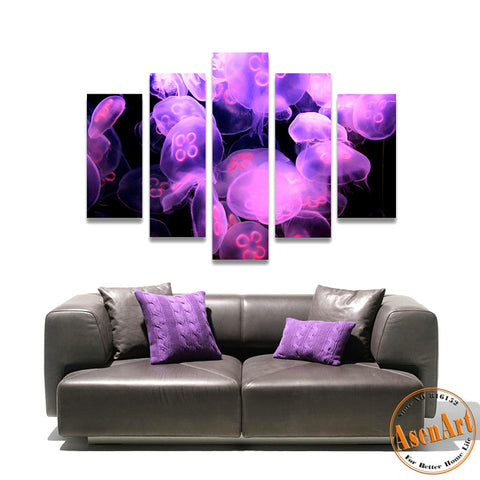 5 Piece Wall Art Jellyfish Sea World Animal Picture Purple Painting Canvas Prints Wall Paintings for Bedroom No Frame