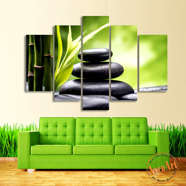 5 Panel Canvas Art Black Stone Bamboo Painting for Bedroom Modern Home Decor Wall Art Canvas Prints Unframed
