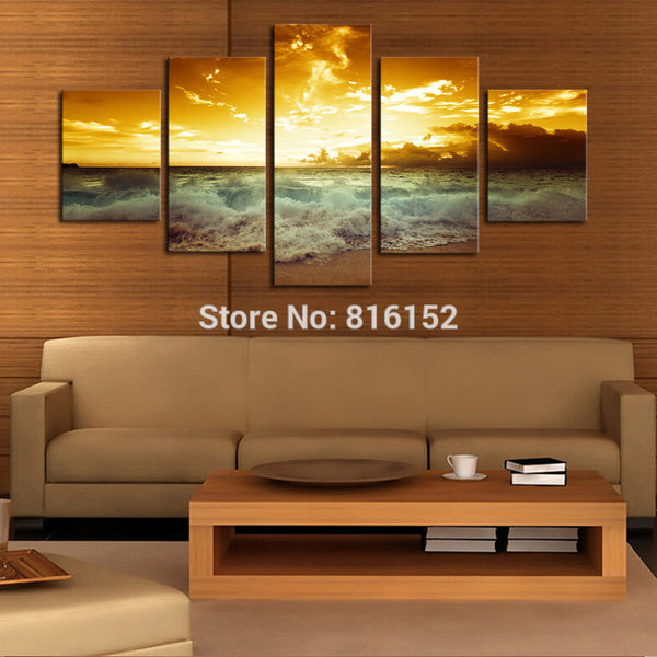5 Panels Golden Seaside Sunset Seascape Picture Oil Canvas Print Painting Modern Unframed Artworks Home Living Wall Decor