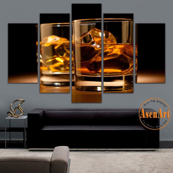 5 Pieces Unframed Wall Art Canvas Prints Beer Glass Canvas Painting Still Life Wall Painting for Bar Home Decoration