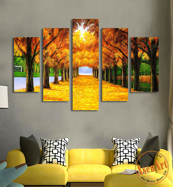 5 Panel Painting Gold Maple Tree Painting Modern Art Picture for Living Room Wall Decor Canvas Prints Artwork No Frame