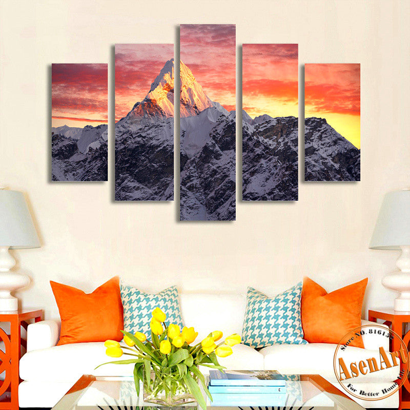 5 Pieces Snow Mountain Landscape Painting Canvas Print Sunset Painting For Living Room Wall Art Home Decoration Unframed