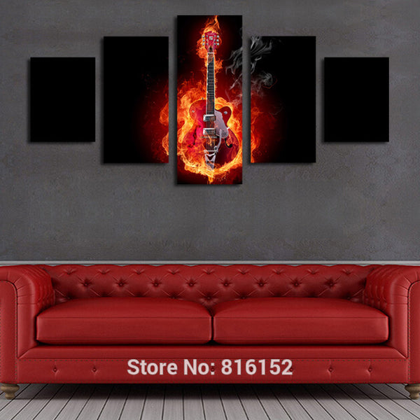 5 Piece Passion Fire Guitar Soul Play Picture Unframed Oil Canvas Print Painting Artwork Modern Home Wall Decoration