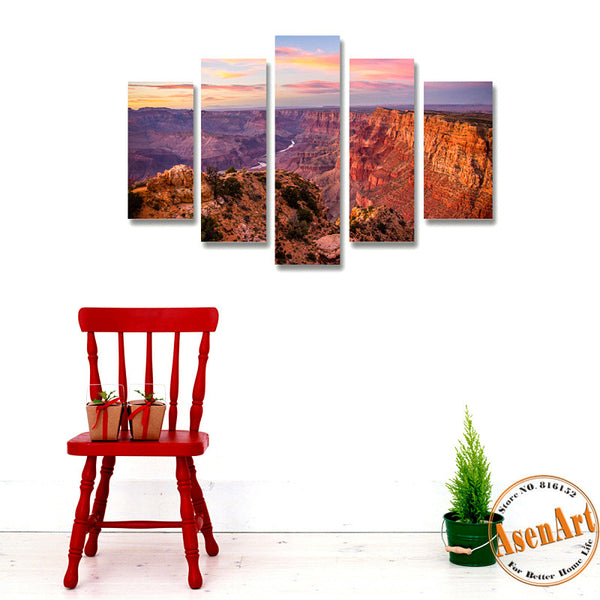 5 Panel Canvas Art Great Mountain Landscape Painting Sunset Scenery Canvas Printing Home Decor Picture for Living Room Frameless