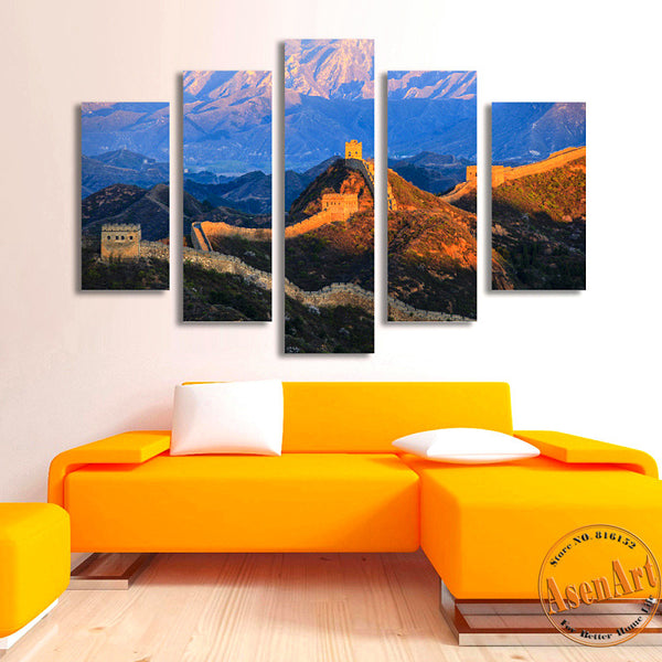 5 Panel Famous Chinese Landscape Canvas Painting Print Great Wall Painting for Living Room Wall Art Home Decoration Unframed