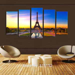 5 Panels Eiffel Tower Picture Oil Canvas Artwork HD Print Painting Modern Home Living Room Unframed Wall Art