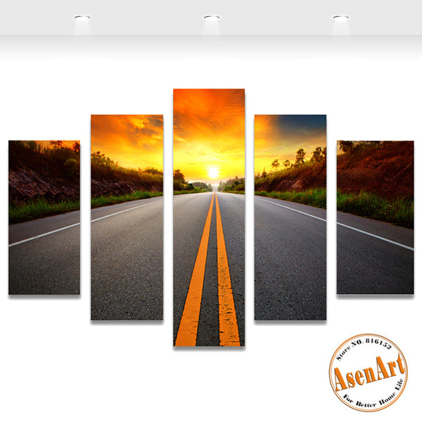 5 Panel Sunset Landscape Painting Road Picture for Living Room Home Decor Wall Art Canvas Prints Artwork Unframed