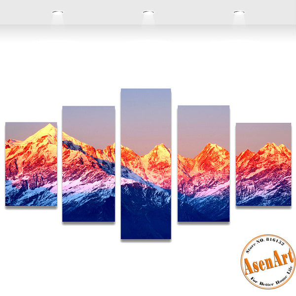 5 Panels Snow Mountain Landscape Picture Canvas Print Sunset Painting For Living Room Wall Art Home Decoration Unframed