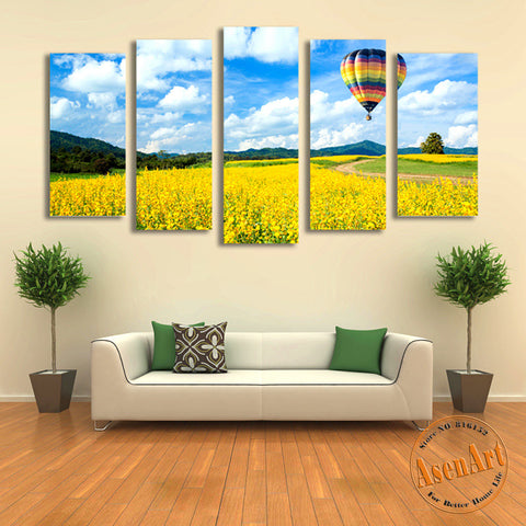 5 Panel Balloon on Canola Flower Landscape Canvas Painting Prints Modern Home Decor Wall Art Picture for Living Room Unframed
