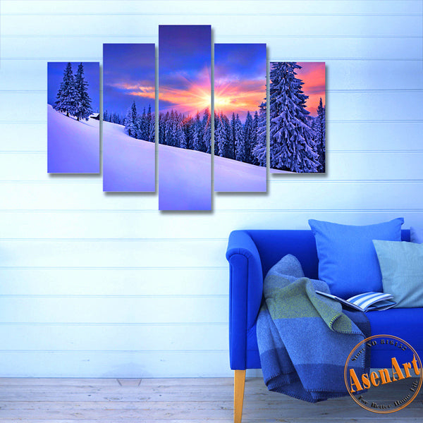 5 Panel Sunset Snow Painting Coniferous Forest Tree Painting Modern Home on the Canvas Prints Picture for Living Room Unframed