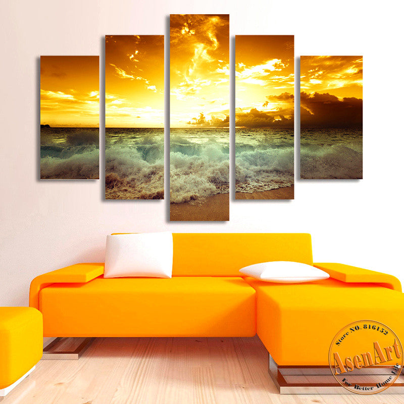 5 Panel Golden Sunset Seaside Painting Wall Art Canvas Prints Wall ...