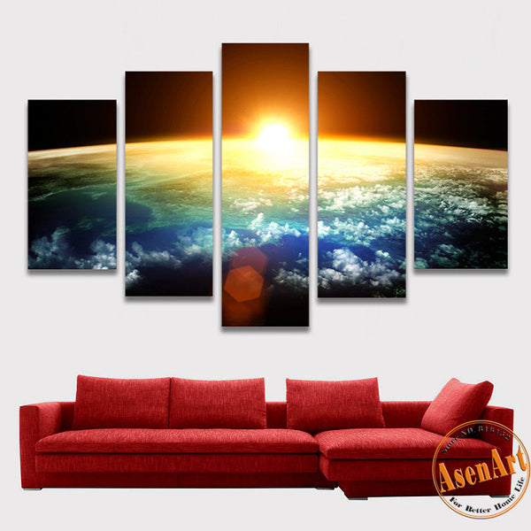 5 Piece Amazing Skyline Sunrise Painting Wall Art Canvas Prints Wall Paintings for Bedrooms Home Decor Unframed