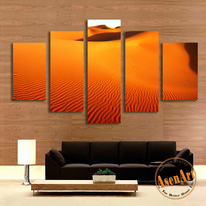 5 Panel Painting Desert Landscape Painting Modern Home Decor Wall Art Canvas Prints Picture for Living Room Unframed