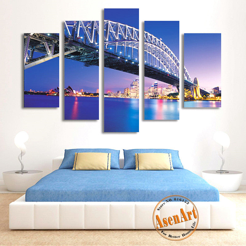 5 Panel Sydney Harbour Bridge Picture Wall Art Canvas Prints Wall Paintings  Bedrooms Home Decor Unframed
