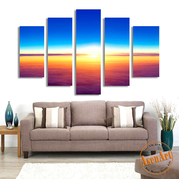 5 Panel Painting Sunset Seascape Painting for Living Room Modern Home Decor Wall Art Canvas Prints Artwork Unframed