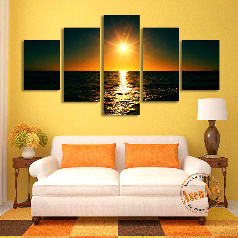 5 Panel Sunset Painting Seascape Canvas Painting Canvas Prints Home Decoration Wall Art Picture for Living Room Unframed