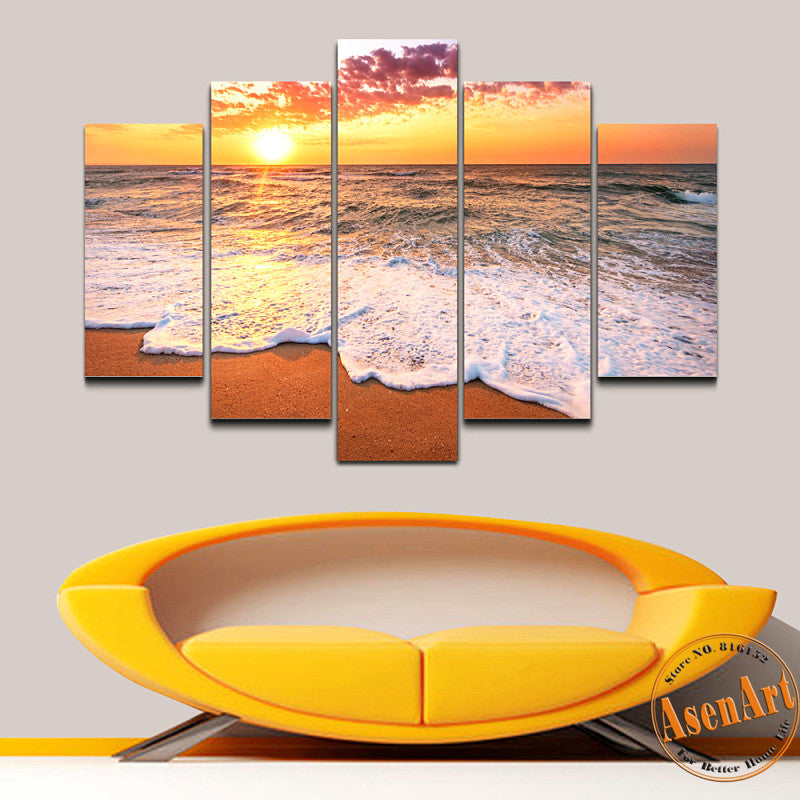 5 Panel Seaside Painting Sunset Painting Wall Art Canvas Prints Picture For  Bedroom Modern Home Decor