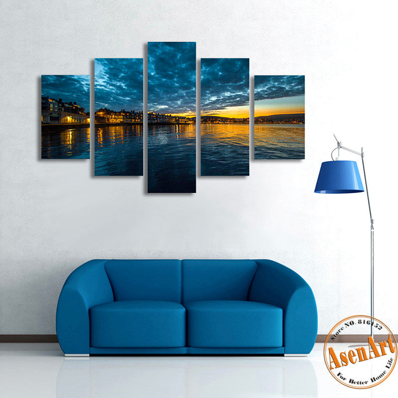 5 Panel Canvas Art Riverbank Scenery Painting Landscape Painting Canvas Prints Artwork Picture for Living Room Unframed