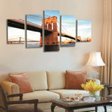 5 Panel Canvas Art Brooklyn Bridge Painting Landscape Painting Canvas Prints Artwork Picture for Living Room Unframed