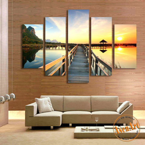 5 Panel Walkway Sea Sunset Landscape Painting Picture for Living Room Modern Home Decor Wall Art Canvas Prints Unframed