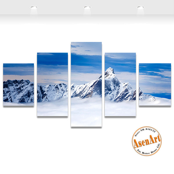 5 Piece Wall Art Snow Mountain Landscape Painting Canvas Printing Modern Home Decor Picture for Living Room Unframed