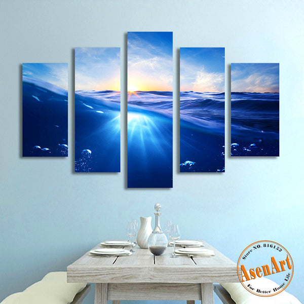 5 Panel Painting Sunrise Blue Sea Canvas Painting Seascape Picture for Bedroom Wall Art Canvas Prints Artwork Unframed