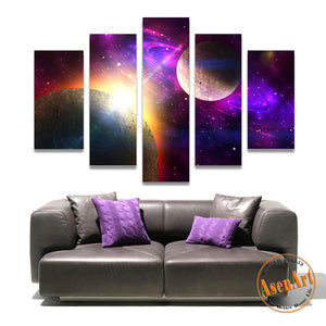 5 Panel Canvas Art Fantastic Star Painting Outer Space Painting for Living Room Wall Decor Canvas Prints Wall Paintings Unframed