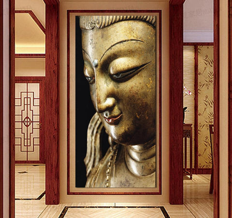 3 Panel Wall Art Religion gold Buddha Oil Painting On Canvas Contemporary Cheap Picture No Frame