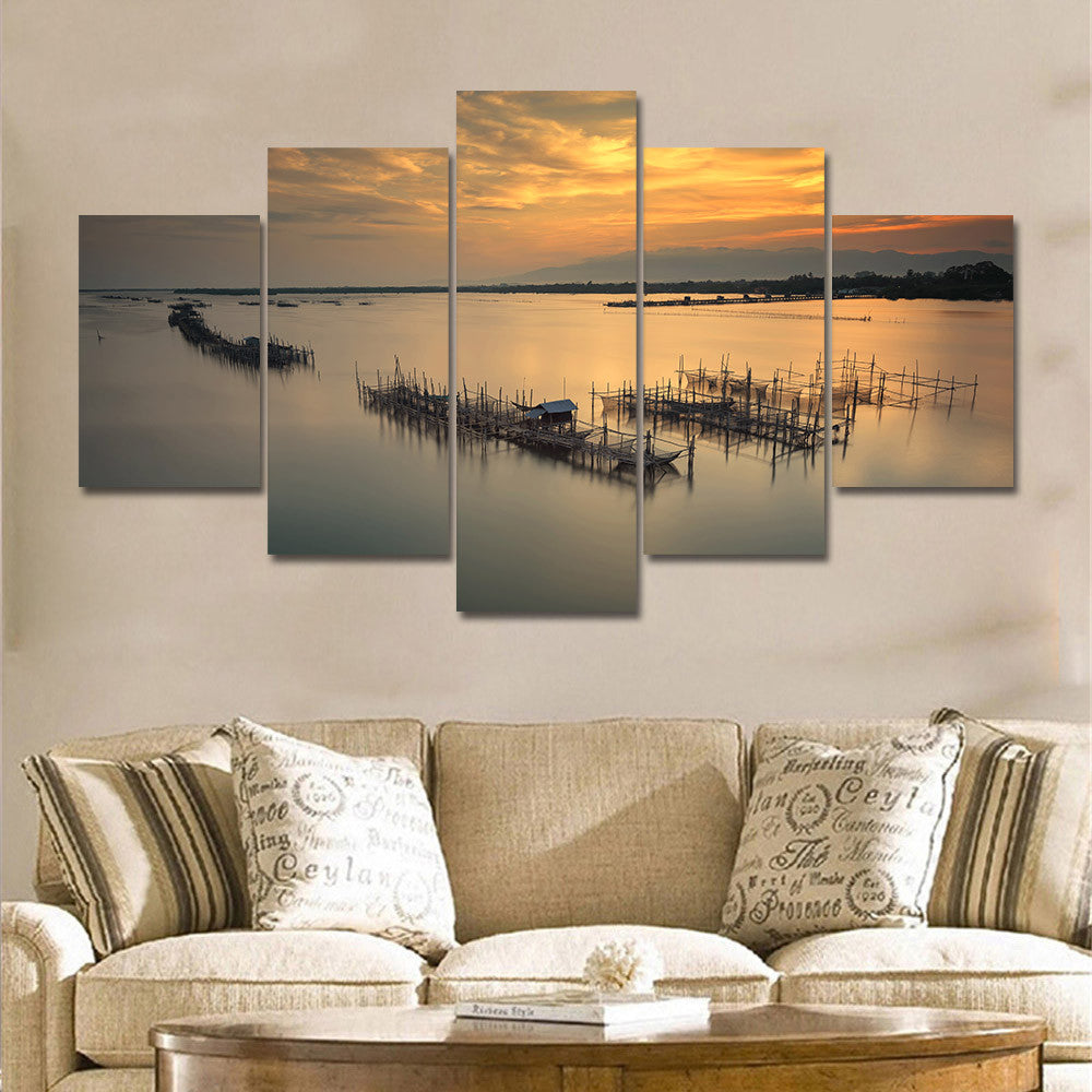 Astonishing 5 Pieces Modern Sunrise Sunset Seascape Wall Art Large Canvas Prints Unframed Poster Modular Painting Home Decoration Home Decor Home Interior And Landscaping Palasignezvosmurscom