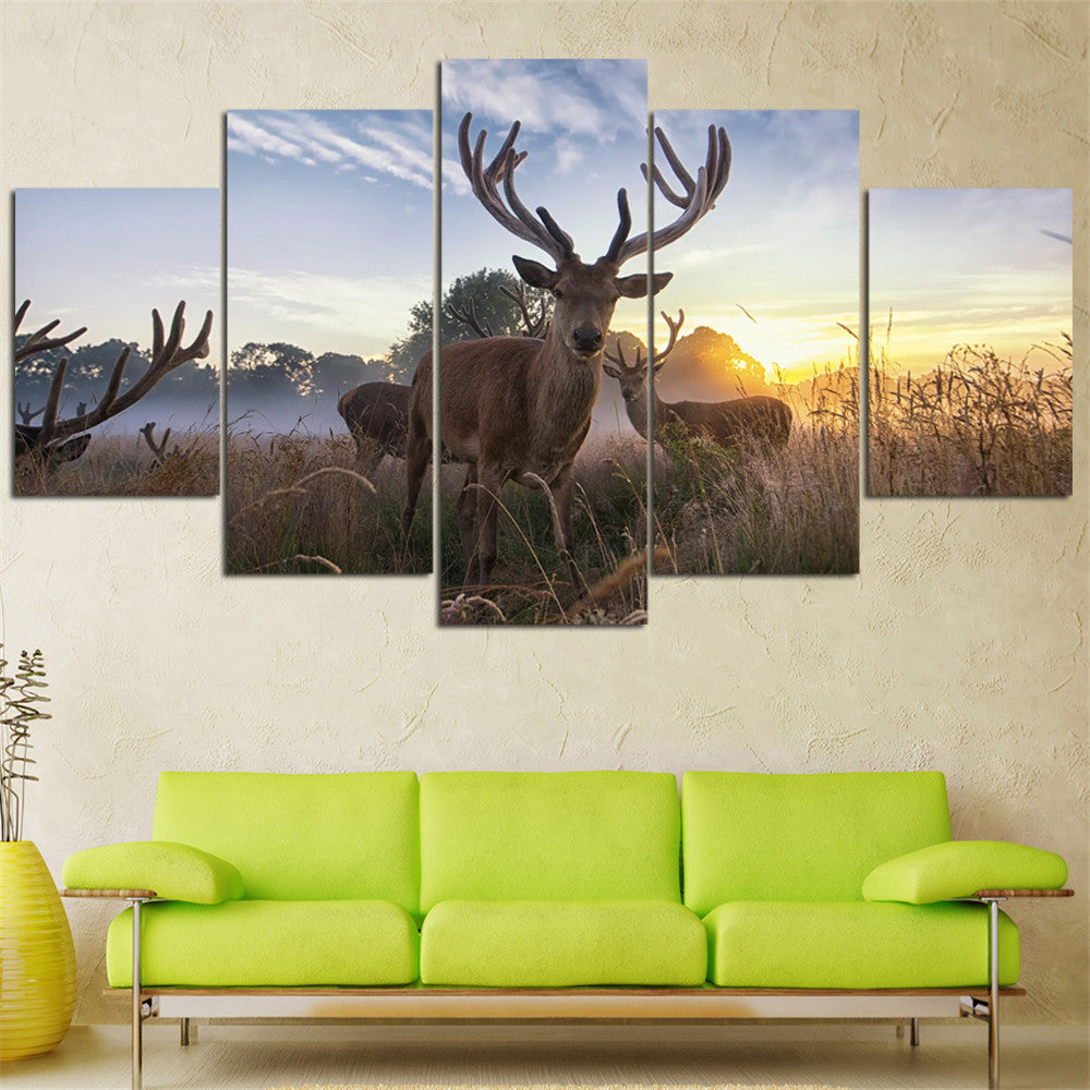 5 Pieces Canvas Painting Deer Animal Sunset Landscape Quadros Decoration Home Decor Oil Wall Pictures for Living Room No Frame