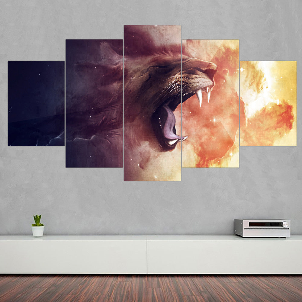 Abstract Lion King Oil Painting Animal Quadros Decoration Canvas Home Decor Wall Pictures For Living Room No Frame 5pcs