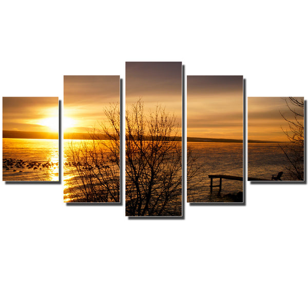 Print Art Canvas Painting Unframed 5 Piece Large HD Sunset for Living Room Wall Picture Home Decoration with Free Shipping 5pcs