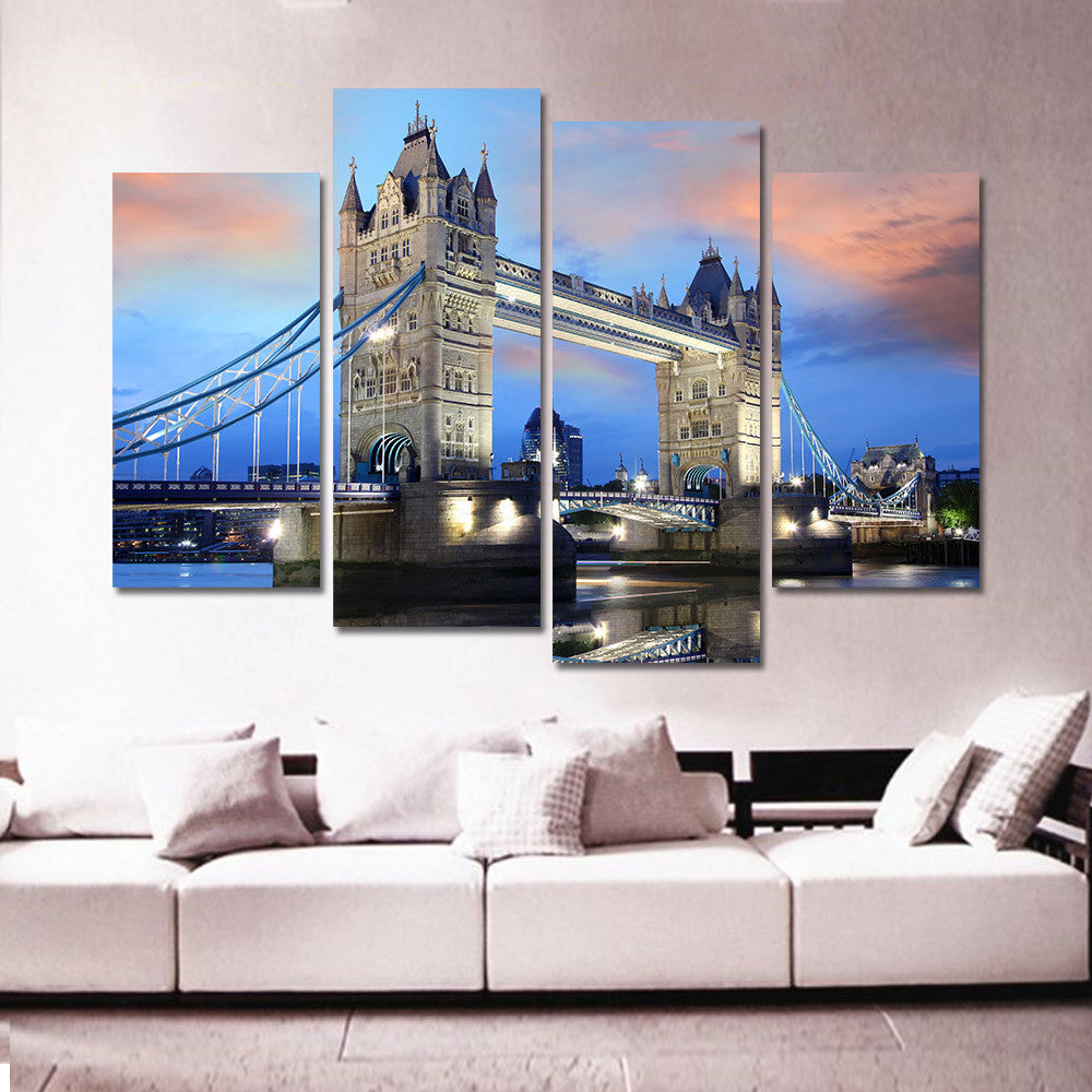 4 panel canvas art print oil painting picture city building bridge