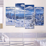 4 Panels Snow Mountain Landscape Modern Home Wall Decor Posters and Prints Oil Painting Canvas Art HD Print Painting No Frame
