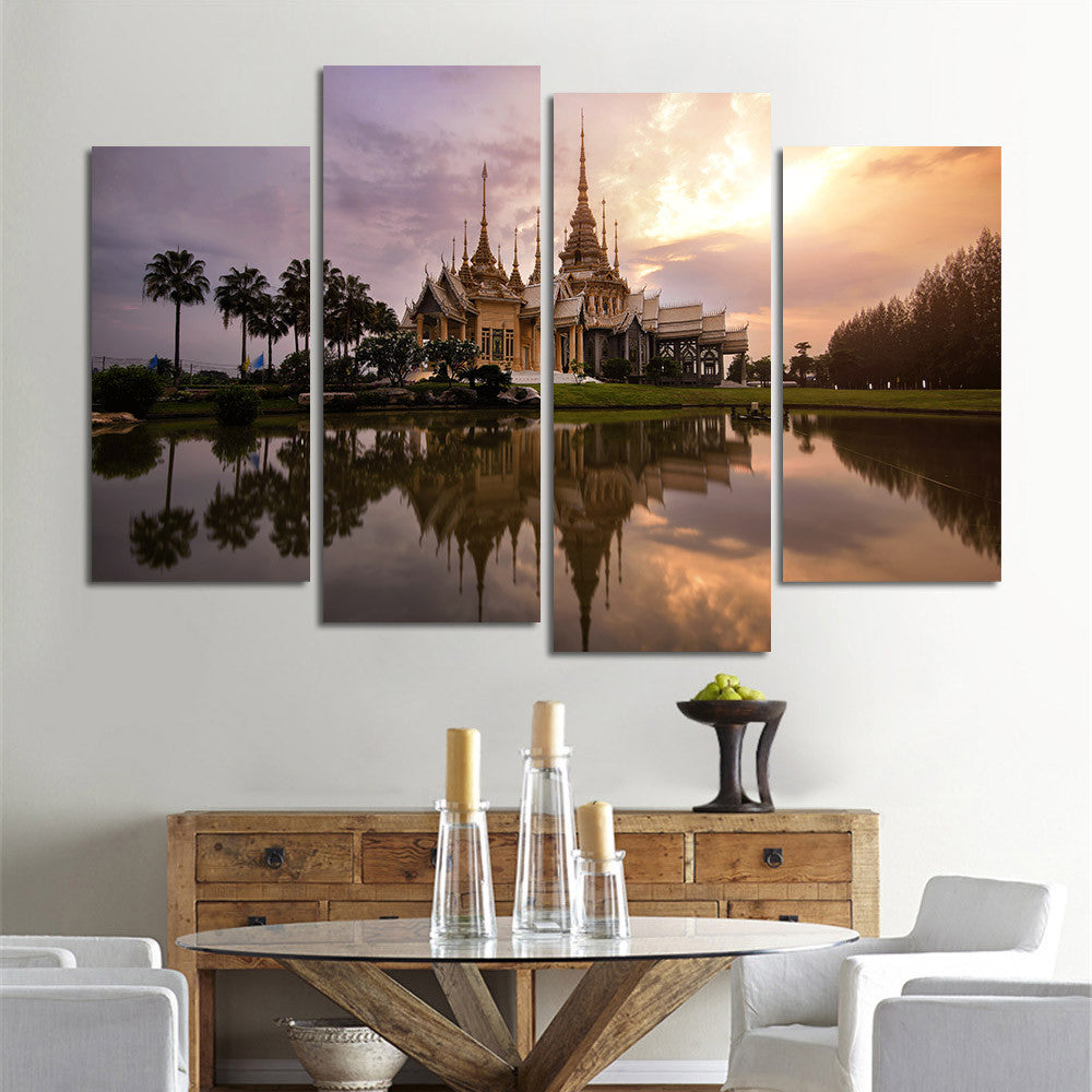 4 Panel Canvas Painting Wall Art City Landscape Modern Decorative Pictures for Living Room Bedroom Oil Print Wall Decor No Frame