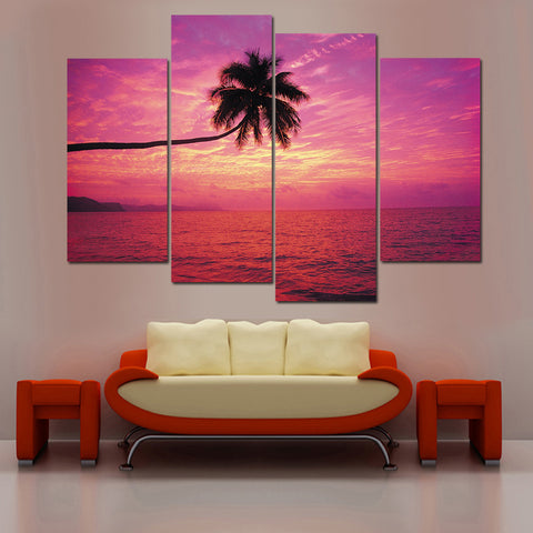 Sunset Landscape Painiting Modular Picture Sea Canvas Painting Scenery Wall Pictures for Living Room Modern No Frame 4 Panal