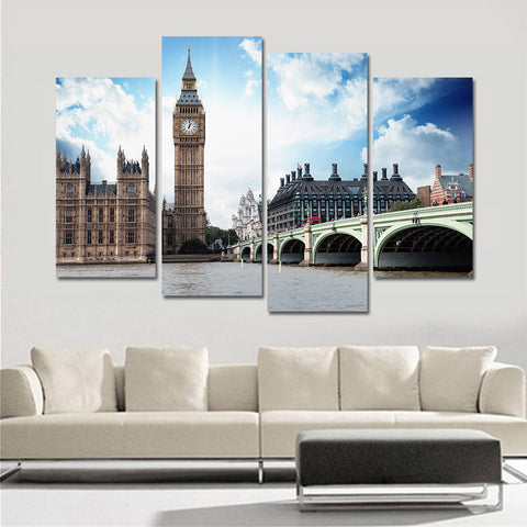Unframed Poster and Print Mordern Painting Canvas Pictures for Living Room City Landscape Oil Spray Wall Art Home Decor 4 Pieces