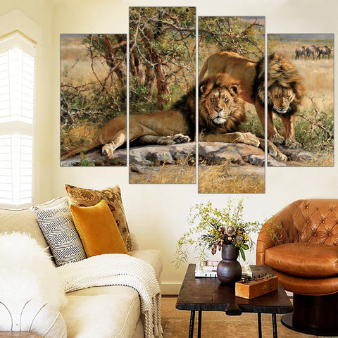 Two Lion Painting HD Printed Animals Canvas Print Room Decor Print Poster Picture Wall Painting Free Shipping Frameless 4 Pieces