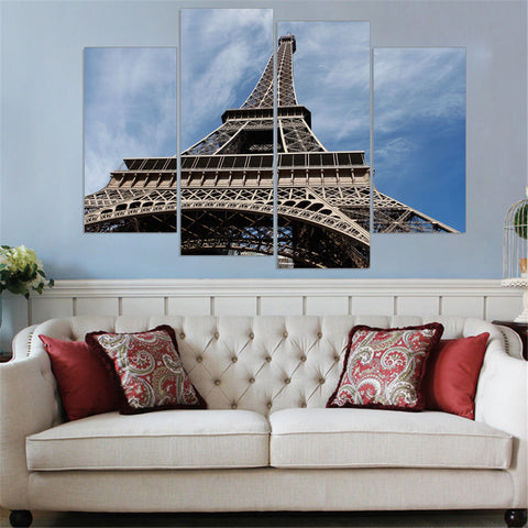 Unframed Eiffel Tower Canvas Art Print and Poster Home Decor HD Wall Painting for Living Room Free Shipping (5 Color) 4 Pieces