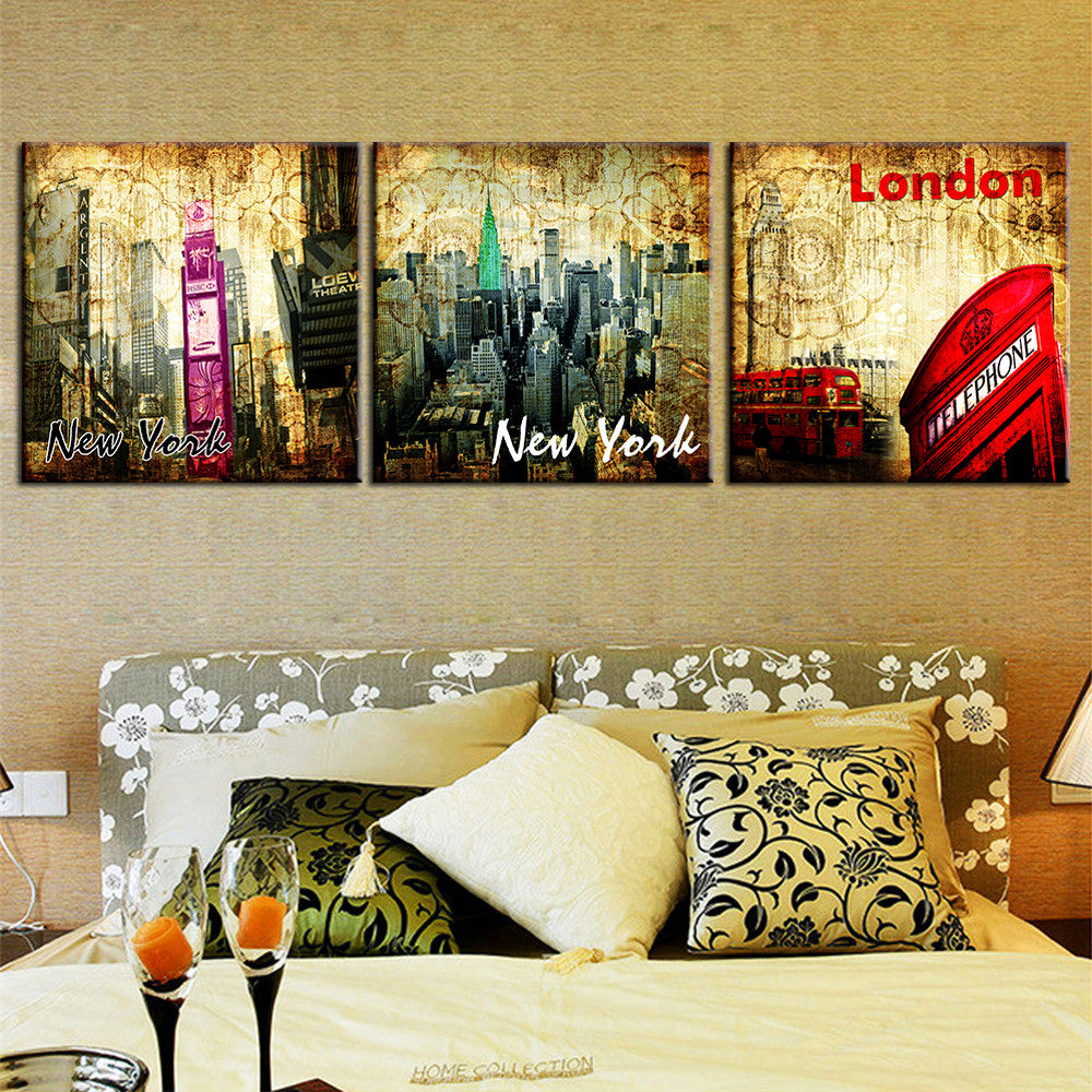 3 Piece Modern Abstract Oil Painting New York Landscape Home Decor ...