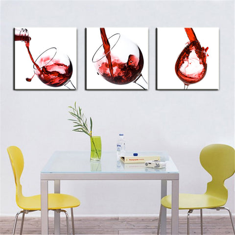 3 Panel Red Wine Glass Painting Canvas Wall Art Picture Home Decoration Living Room Canvas Print Painting Canvas Art Unframed