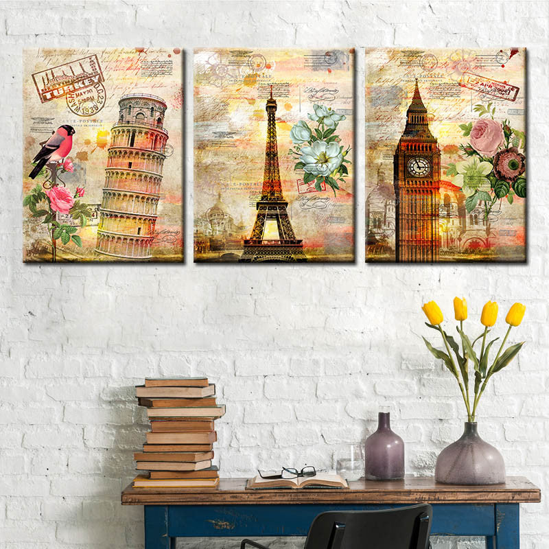 Drop Shipping Famous Building Painting Colorful Canvas Painting Oil Pictures For Living Room Home Decor Art Print Unframed 3pcs