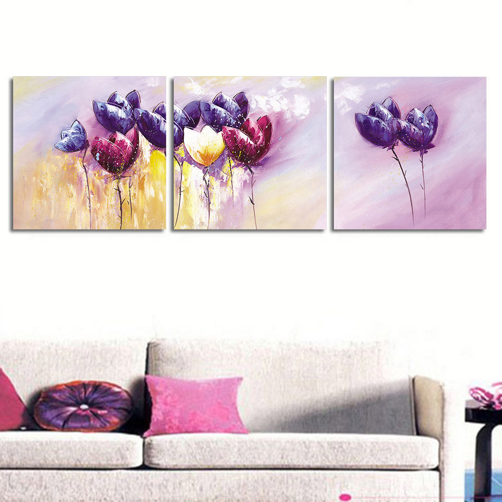 Purple Flower Oil Painting Abstract Wall Art Picture: 3 Pcs/set Abstract Purple Flower Wall Art Painting Prints