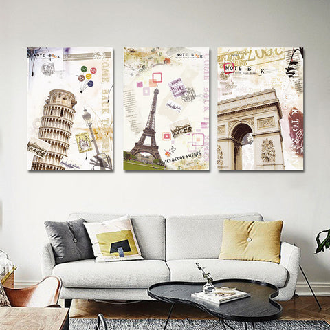 3 Panels Modern Europe Building Landscape Picture Statue of Liberty Building Town Painting Printed on Canvas Wall Art No Frame