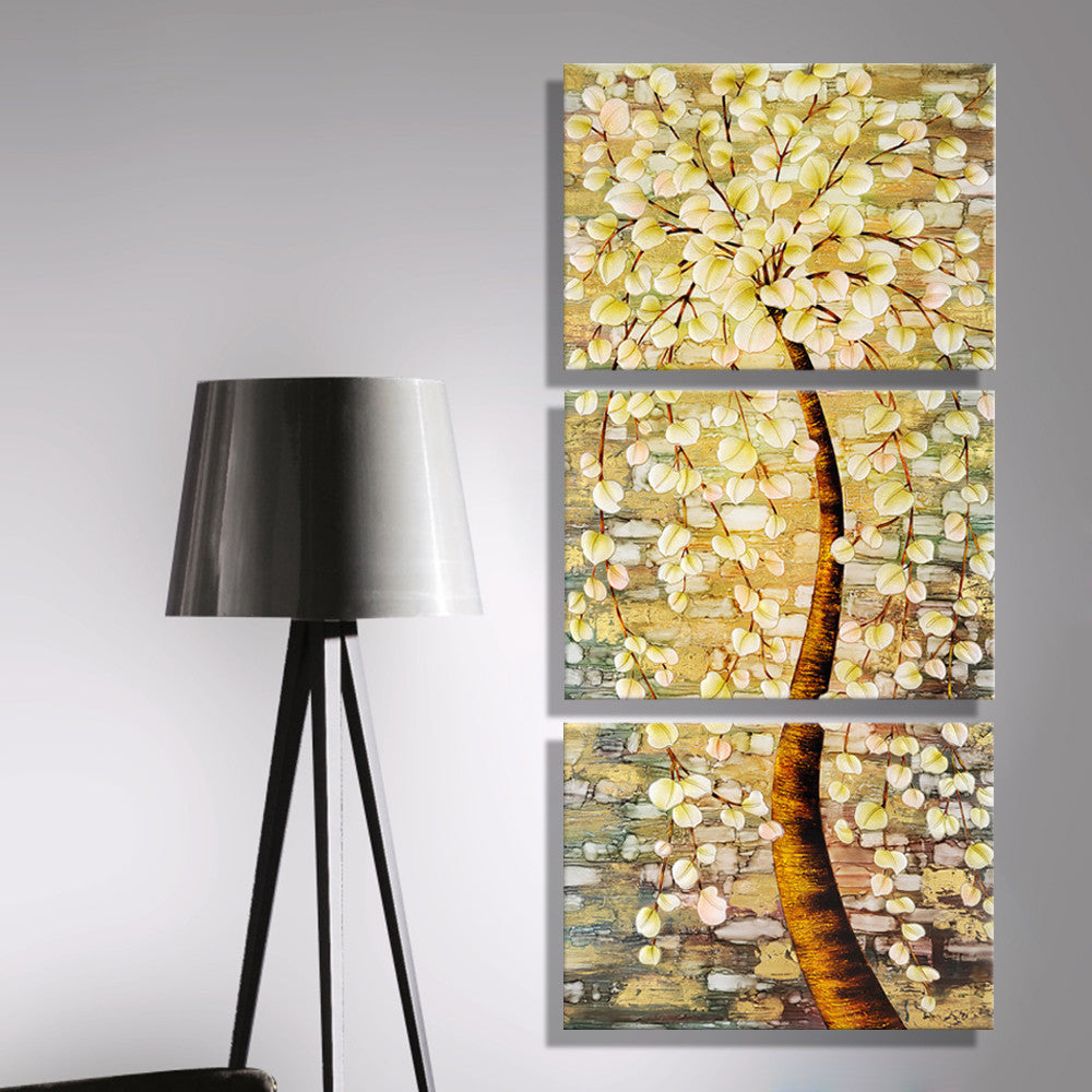 Oil Painting Canvas Modern Abstract Huge Shining Rich Trees Wall Art ...