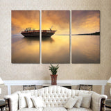 3 Pieces Modern Sunrise on The Sea Landscape Wall Art Painting Home Decoration Boat Oil Painting Cuadros Decoracion No Frame
